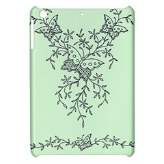 Illustration Of Butterflies And Flowers Ornament On Green Background Apple Ipad Mini Hardshell Case by BangZart