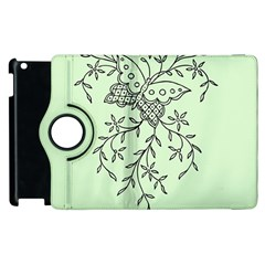 Illustration Of Butterflies And Flowers Ornament On Green Background Apple Ipad 2 Flip 360 Case by BangZart
