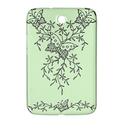 Illustration Of Butterflies And Flowers Ornament On Green Background Samsung Galaxy Note 8 0 N5100 Hardshell Case  by BangZart