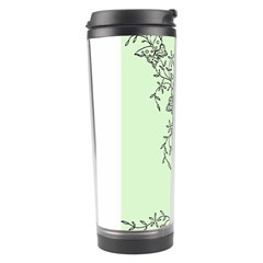 Illustration Of Butterflies And Flowers Ornament On Green Background Travel Tumbler by BangZart