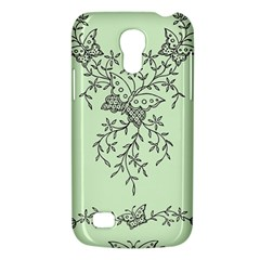 Illustration Of Butterflies And Flowers Ornament On Green Background Galaxy S4 Mini by BangZart