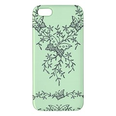 Illustration Of Butterflies And Flowers Ornament On Green Background Iphone 5s/ Se Premium Hardshell Case by BangZart