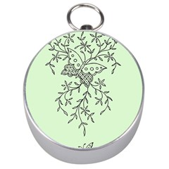 Illustration Of Butterflies And Flowers Ornament On Green Background Silver Compasses by BangZart