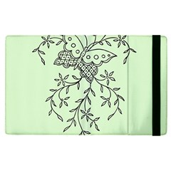 Illustration Of Butterflies And Flowers Ornament On Green Background Apple Ipad Pro 9 7   Flip Case by BangZart