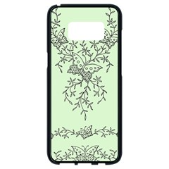 Illustration Of Butterflies And Flowers Ornament On Green Background Samsung Galaxy S8 Black Seamless Case by BangZart