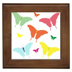 Beautiful Colorful Polka Dot Butterflies Clipart Framed Tiles by BangZart