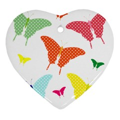 Beautiful Colorful Polka Dot Butterflies Clipart Ornament (heart) by BangZart