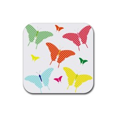 Beautiful Colorful Polka Dot Butterflies Clipart Rubber Coaster (square)  by BangZart