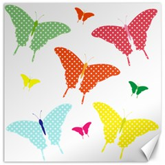 Beautiful Colorful Polka Dot Butterflies Clipart Canvas 16  X 16   by BangZart