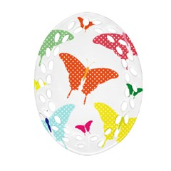 Beautiful Colorful Polka Dot Butterflies Clipart Ornament (oval Filigree) by BangZart