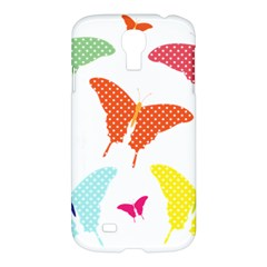 Beautiful Colorful Polka Dot Butterflies Clipart Samsung Galaxy S4 I9500/i9505 Hardshell Case by BangZart