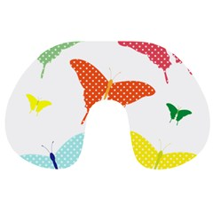 Beautiful Colorful Polka Dot Butterflies Clipart Travel Neck Pillows by BangZart