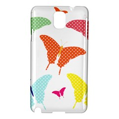 Beautiful Colorful Polka Dot Butterflies Clipart Samsung Galaxy Note 3 N9005 Hardshell Case by BangZart