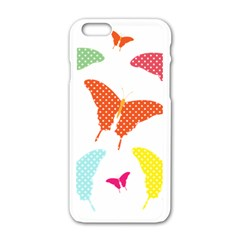 Beautiful Colorful Polka Dot Butterflies Clipart Apple Iphone 6/6s White Enamel Case