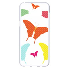 Beautiful Colorful Polka Dot Butterflies Clipart Samsung Galaxy S8 Plus White Seamless Case by BangZart
