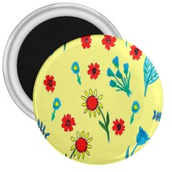 Flowers Fabric Design 3  Magnets by BangZart