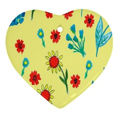 Flowers Fabric Design Ornament (heart) by BangZart