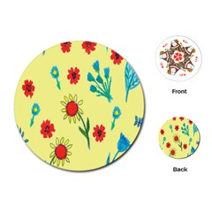 Flowers Fabric Design Playing Cards (round)  by BangZart