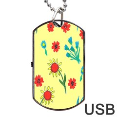 Flowers Fabric Design Dog Tag Usb Flash (two Sides) by BangZart