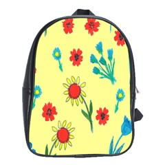 Flowers Fabric Design School Bags (xl)  by BangZart