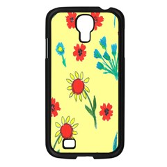 Flowers Fabric Design Samsung Galaxy S4 I9500/ I9505 Case (black) by BangZart