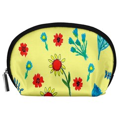 Flowers Fabric Design Accessory Pouches (large)