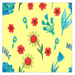 Flowers Fabric Design Large Satin Scarf (square)