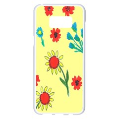 Flowers Fabric Design Samsung Galaxy S8 Plus White Seamless Case