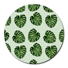 Leaf Pattern Seamless Background Round Mousepads by BangZart