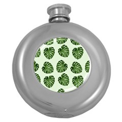 Leaf Pattern Seamless Background Round Hip Flask (5 Oz) by BangZart