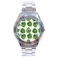 Leaf Pattern Seamless Background Stainless Steel Analogue Watch by BangZart