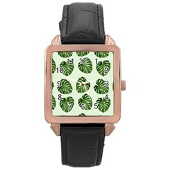 Leaf Pattern Seamless Background Rose Gold Leather Watch  by BangZart