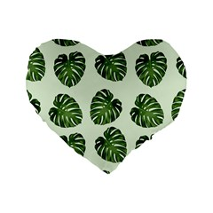 Leaf Pattern Seamless Background Standard 16  Premium Flano Heart Shape Cushions by BangZart