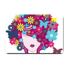Beautiful Gothic Woman With Flowers And Butterflies Hair Clipart Small Doormat  by BangZart