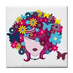 Beautiful Gothic Woman With Flowers And Butterflies Hair Clipart Face Towel by BangZart