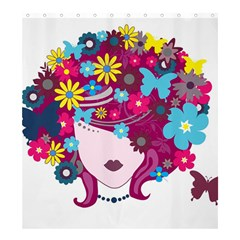 Beautiful Gothic Woman With Flowers And Butterflies Hair Clipart Shower Curtain 66  X 72  (large)  by BangZart