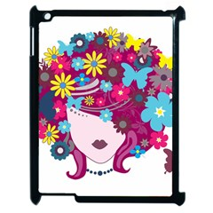 Beautiful Gothic Woman With Flowers And Butterflies Hair Clipart Apple Ipad 2 Case (black)