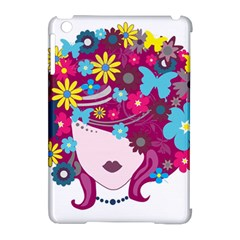Beautiful Gothic Woman With Flowers And Butterflies Hair Clipart Apple Ipad Mini Hardshell Case (compatible With Smart Cover) by BangZart
