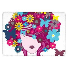 Beautiful Gothic Woman With Flowers And Butterflies Hair Clipart Samsung Galaxy Tab 8 9  P7300 Flip Case by BangZart