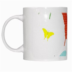 Beautiful Colorful Polka Dot Butterflies Clipart White Mugs by BangZart