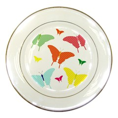 Beautiful Colorful Polka Dot Butterflies Clipart Porcelain Plates by BangZart