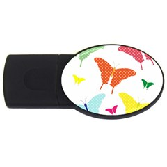Beautiful Colorful Polka Dot Butterflies Clipart Usb Flash Drive Oval (4 Gb) by BangZart