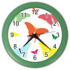 Beautiful Colorful Polka Dot Butterflies Clipart Color Wall Clocks by BangZart