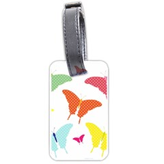 Beautiful Colorful Polka Dot Butterflies Clipart Luggage Tags (one Side)  by BangZart