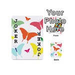 Beautiful Colorful Polka Dot Butterflies Clipart Playing Cards 54 (Mini)  Front - Joker1