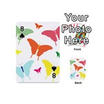 Beautiful Colorful Polka Dot Butterflies Clipart Playing Cards 54 (Mini)  Front - Spade8