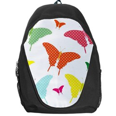 Beautiful Colorful Polka Dot Butterflies Clipart Backpack Bag by BangZart