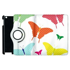 Beautiful Colorful Polka Dot Butterflies Clipart Apple Ipad 2 Flip 360 Case by BangZart