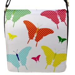 Beautiful Colorful Polka Dot Butterflies Clipart Flap Messenger Bag (s) by BangZart