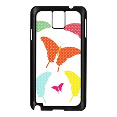 Beautiful Colorful Polka Dot Butterflies Clipart Samsung Galaxy Note 3 N9005 Case (black) by BangZart